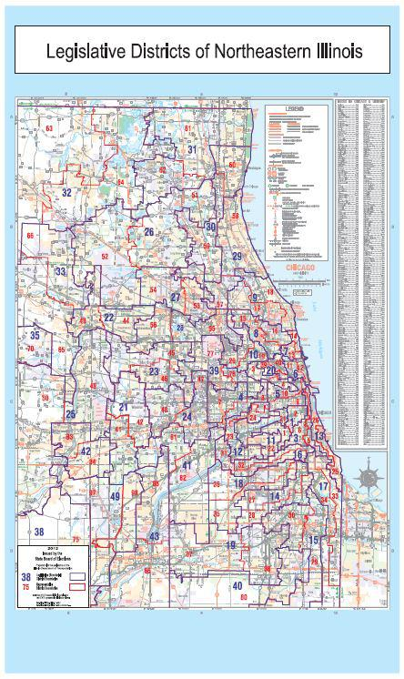 Click to enlarge: A current map of Northestern Illinois' legislative districts. (Illinois Board of Elections)