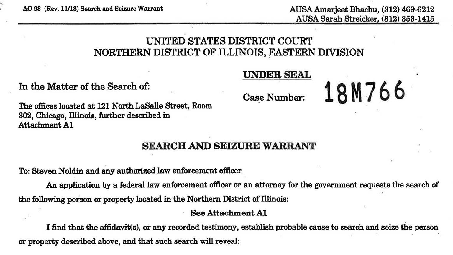Document: Read the search warrant