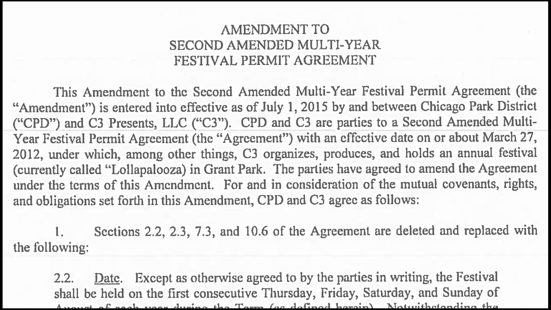 Document: Read the contract between the Park District and C3 Presents