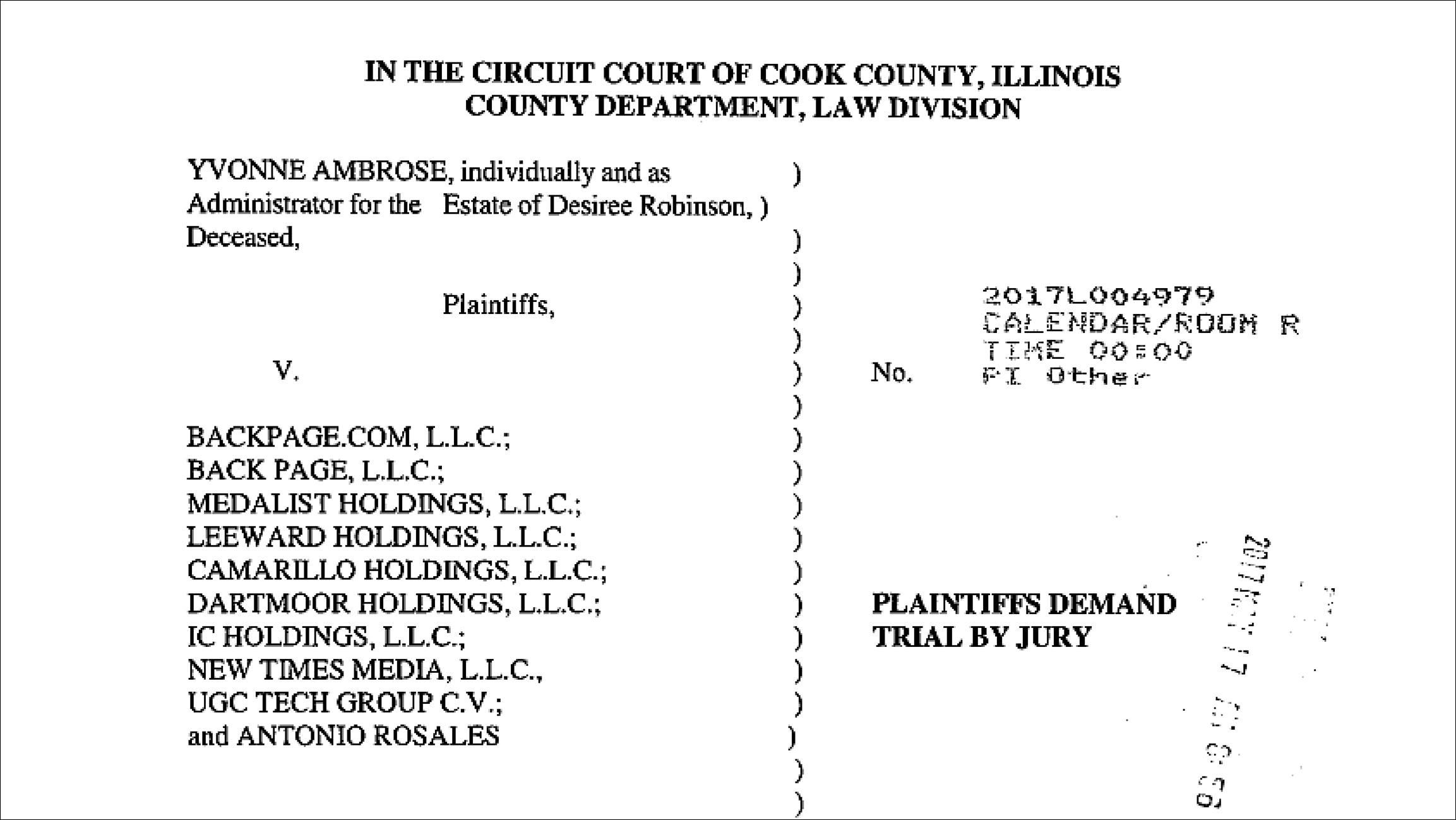 Document: Read the lawsuit against Backpage