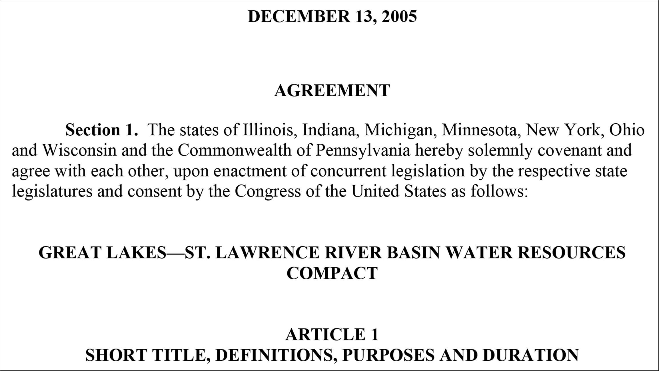 Document: Read the Great Lakes Compact
