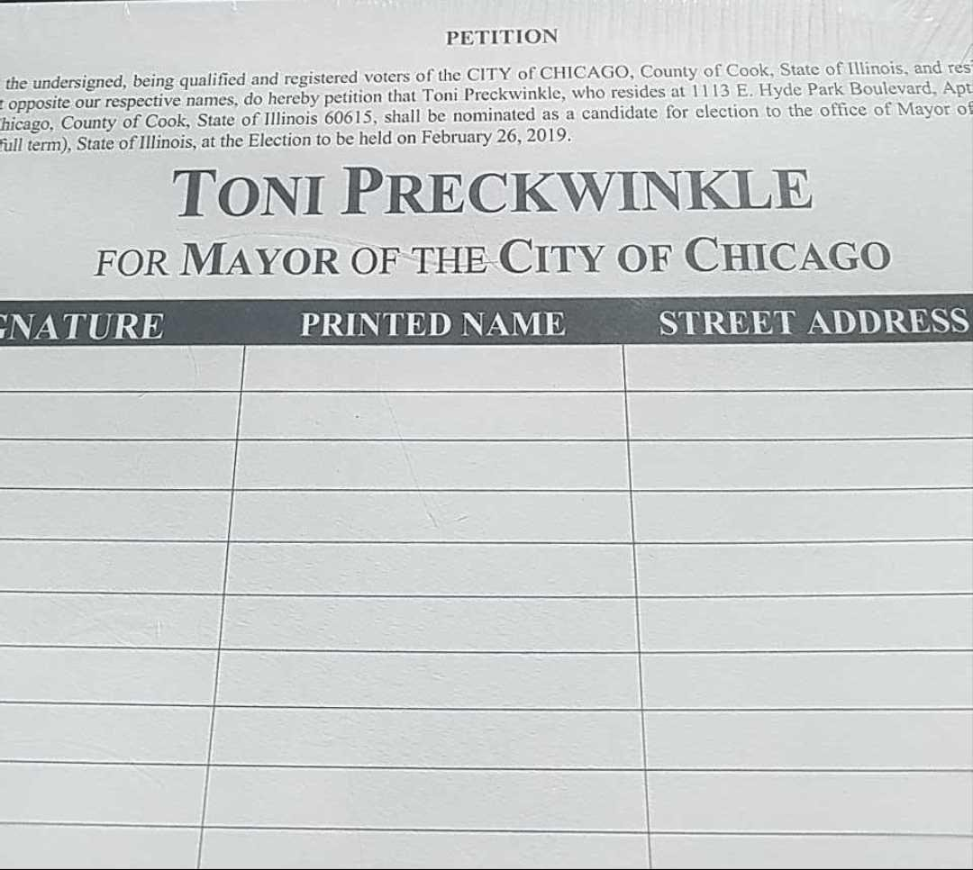 Click to enlarge: Toni Preckwinkle petition