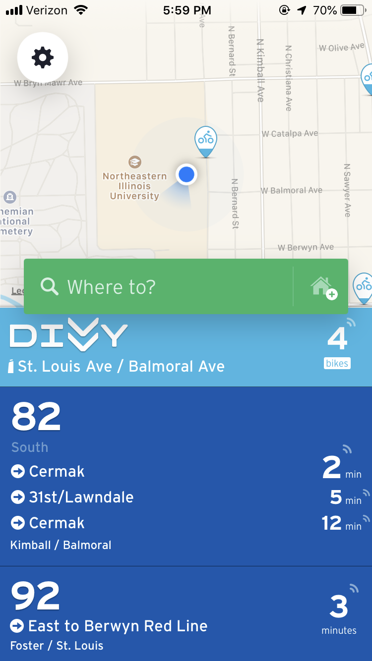 A screenshot from the transportation app Transit.
