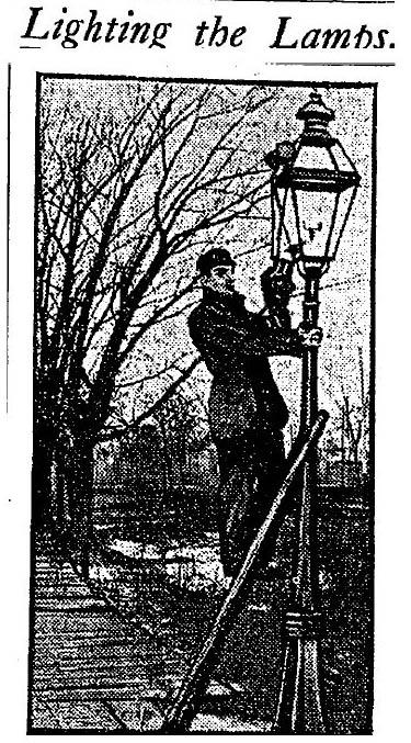 A photo of a streetlamp lighter in a 1903 edition of the Chicago Daily Tribune.