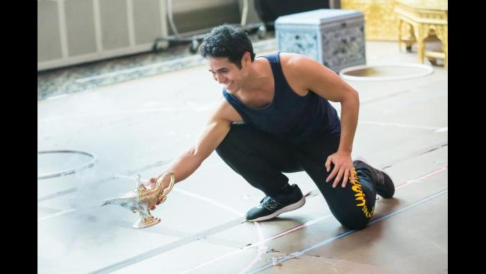 """Adam Jacobs rehearses for the title role in """"Aladdin."""" (Justin Barbin / Broadway in Chicago)"""