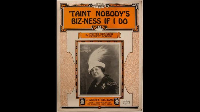 "Sara Martin - Sheet Music – ""'Taint Nobody's Bizness"""