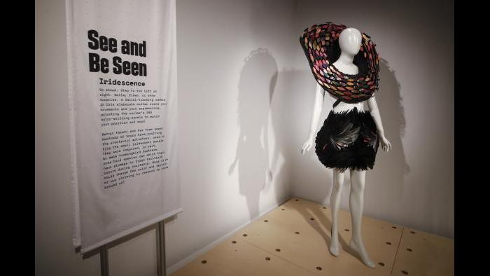 """Wired to Wear"" features renowned designer and technologist Behnaz Farahi's innovation, Iridescence, a collar which uses vision-activated technology to react with life-like behavior. (Courtesy MSI Chicago)"