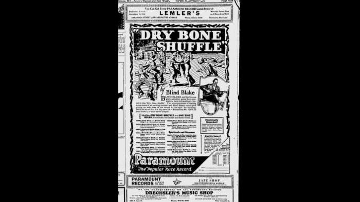 "Blind Blake - Chicago Defender Ad – ""Dry Bone Shuffle"""