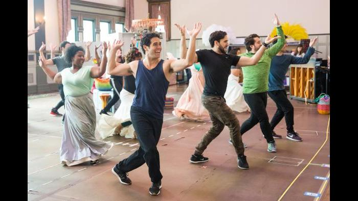 """Adam Jacobs in rehearsal for """"Aladdin."""" (Justin Barbin / Broadway in Chicago)"""