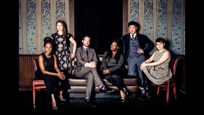 From left: Lisa Beasley, Katie Klein, Scott Morehead, Aasia Lashay Bullock, Peter Kim and Julie Marchiano. (Kirsten Miccoli / The Second City)