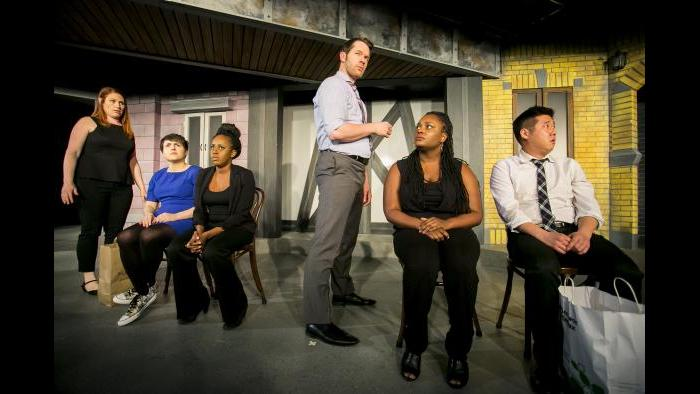From left: Katie Klein, Julie Marchiano, Lisa Beasley, Scott Morehead, Aasia Lashay Bullock and Peter Kim. (Todd Rosenberg / The Second City)