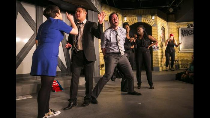 From left: Julie Marchiano, Peter Kim, Scott Morehead, Lisa Beasley, Aasia Lashay Bullock and Katie Klein. (Todd Rosenberg / The Second City)