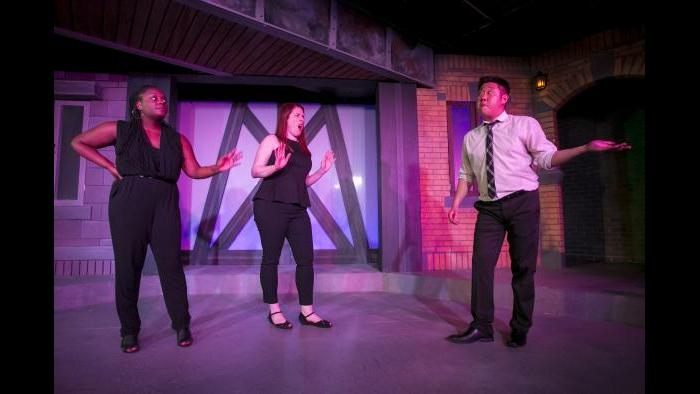 From left: Aasia Lashay Bullock, Katie Klein and Peter Kim. (Todd Rosenberg / The Second City)