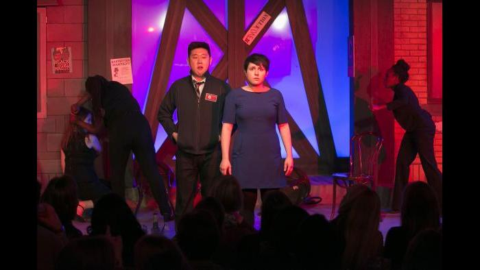 Peter Kim and Julie Marchiano. (Todd Rosenberg / The Second City)