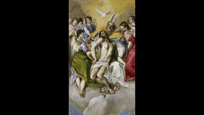 """El Greco (Domenikos Theotokopoulos). """"The Holy Trinity,"""" 1577–79. Museo Nacional del Prado, Madrid."""