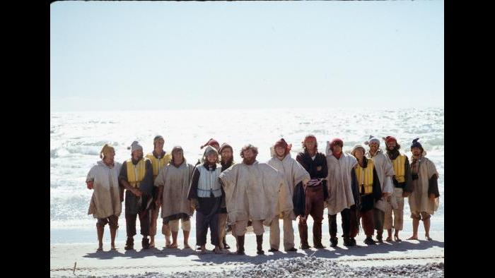 The group at Sand Banks Provincial Park, triumphant after surviving high waves on Lake Ontario on August 30, 1976. (Photographers of the La Salle: Expedition II)