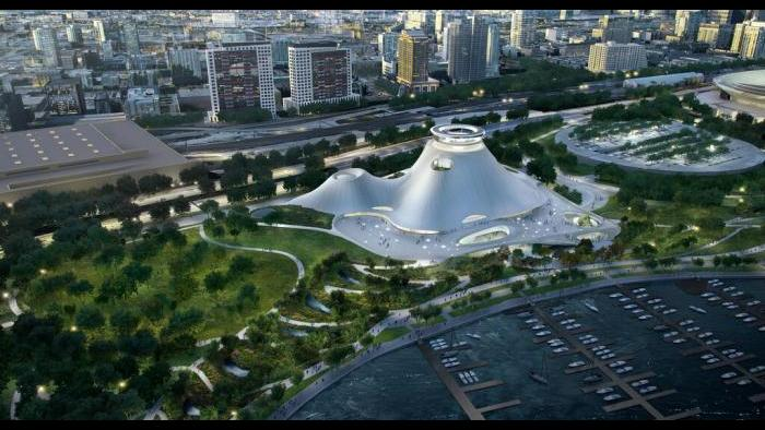 A bird's eye view of the Lucas Museum and surrounding park setting. (Courtesy of Lucas Museum of Narrative Art)