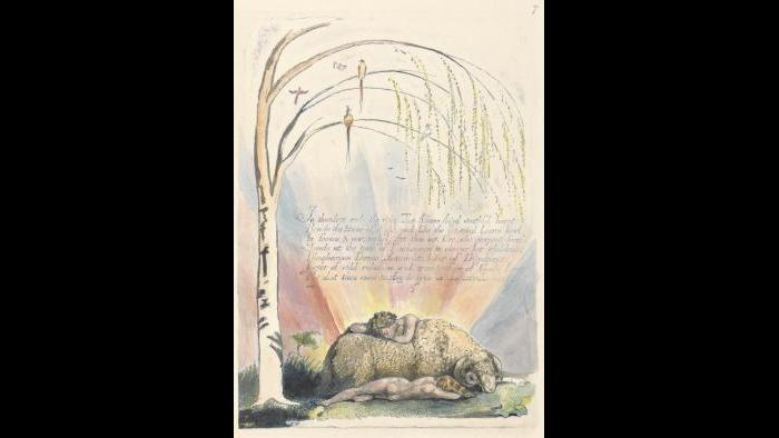 """William Blake, 1757–1827, British, America. A Prophecy, Plate 9, """"In Thunders Ends the Voice...."""", 1793, Color-printed relief etching in blue with pen and black ink and watercolor, Yale Center for British Art, Paul Mellon Collection"""