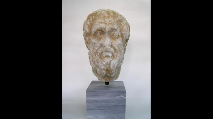 Portrait of Homer--Statues of Homer carved between the 5th and 2nd centuries BC adorned the public spaces of many Greek cities. (National Archaeological Museum, Athens)