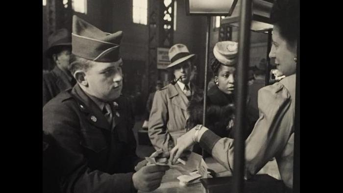 A scene at Union Station during World War II.