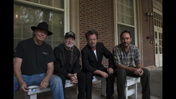 Neil Young, Willie Nelson, John Mellencamp and Dave Matthews at Saratoga Performing Arts Center in 2013.