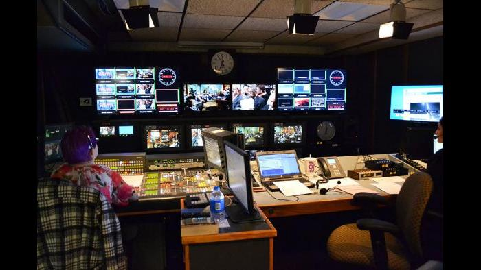 "The ""Chicago Tonight"" control room preps for the forum."