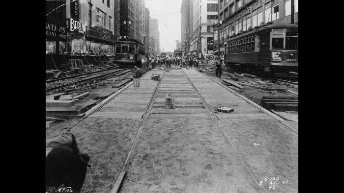 State Street subway construction, 1941 (Chicago Transit Authority / Flickr)