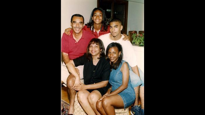 Natalie Moore's family in the 1998 in their Beverly/Morgan Park home. (Photo © Dot Ward)
