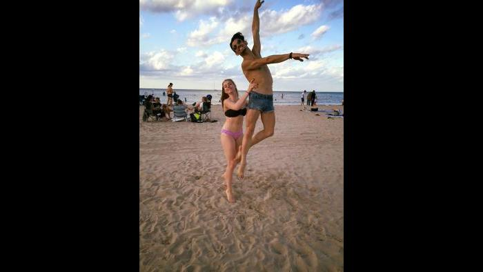 Joffrey dancer Camila Ferrera at Montrose Avenue beach. (Courtesy Ferrera's Facebook page)