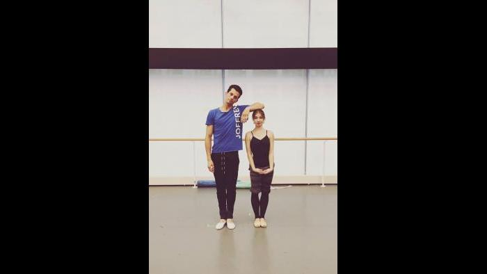 Russian Joffrey dancer Valeriia Chaykina rehearsing at Joffrey Ballet. (Courtesy Chaykina's Facebook page)