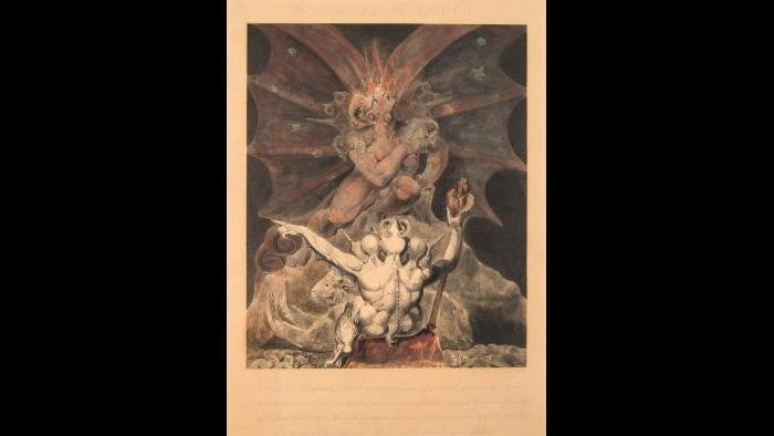 William Blake, The Number of the Beast is 666, c. 1805, pen and ink and watercolor. The Rosenbach, Philadelphia. Photographer: Jonathan Donovan