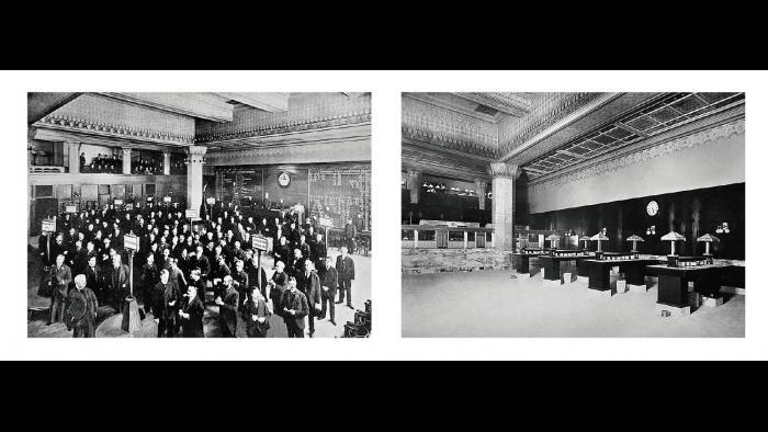 Archival photos from before (left) and after (right) an early 20th century renovation project were used to re-create the Trading Room's original decorative scheme.