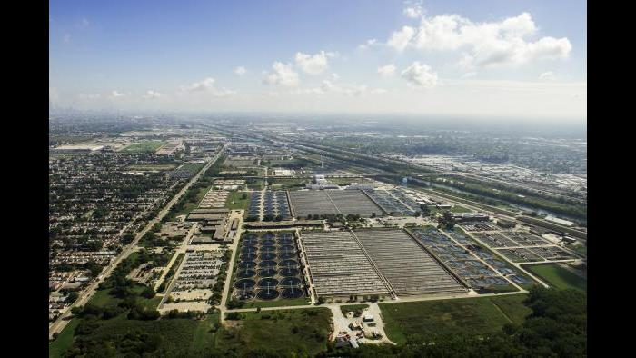 Aerial view of the Stickney facility. (Courtesy Metropolitan Water Reclamation District of Greater Chicago)