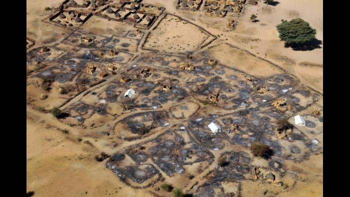 An overhead view of the remains of the burned-out village of Abu Sourouj in West Darfur, Sudan, February 28, 2008. (Lynsey Addario / New York Times)