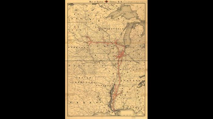 Map of the Illinois Central Railroad, 1860, Library of Congress