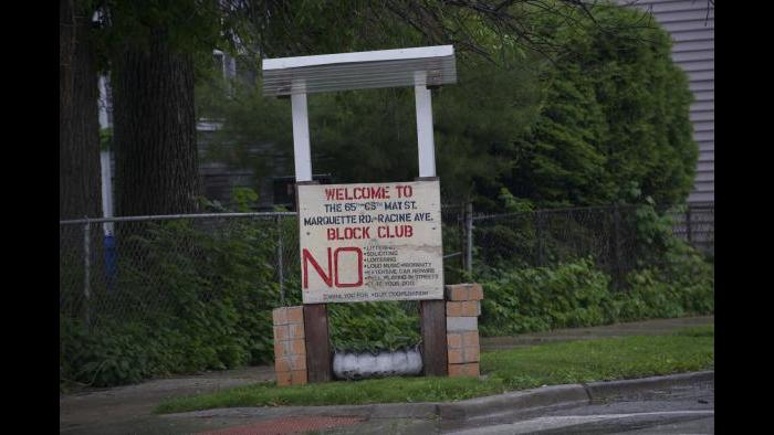 A typical block club sign in black Chicago neighborhoods. (Photo by Bill Healy)