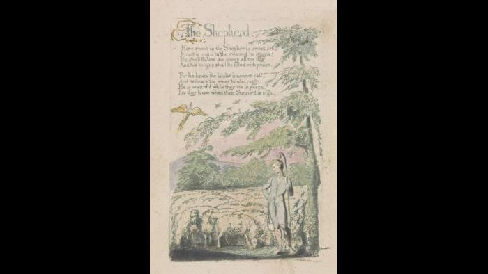 """William Blake, """"The Shepherd,"""" from Songs of Innocence, plate 4, 1789, relief etching printed in green with pen and black ink and watercolor. Yale Center for British Art, Paul Mellon Collection"""