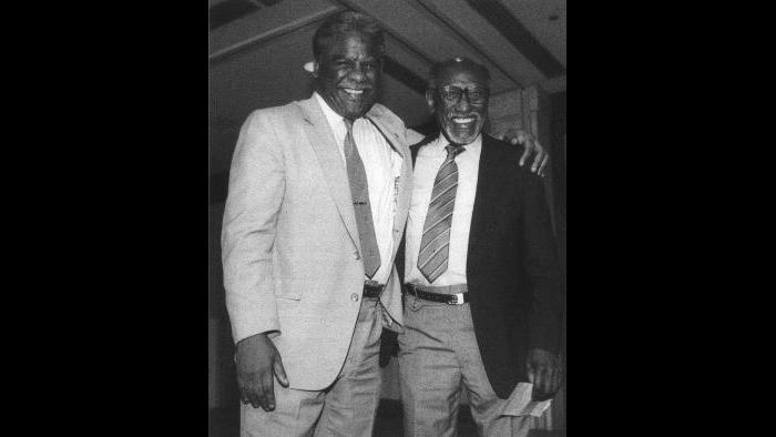 With Harold Washington (Courtesy of Timuel Black and the Vivian G. Harsh Research Collection)