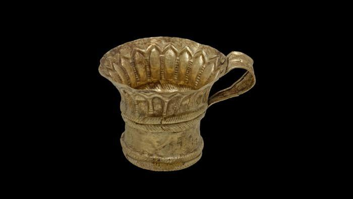 Cup--This gold cup was discovered in a grave containing the remains of two men along with many grave goods and is being displayed for the first time outside Greece. (National Archaeological Museum, Athens)
