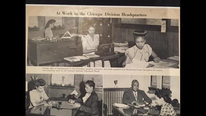 1940s photographs at the offices of the Brotherhood of Sleeping Car Porters union.
