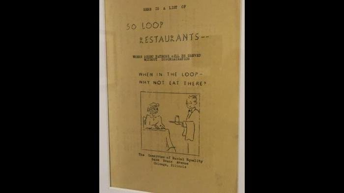 A guide to Loop Restaurants for African-Americans from The Committee of Racial Equality.