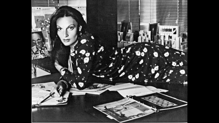 A feline designer in her office, 1976. (Photo by Ara Gallant, courtesy of Diane von Furstenberg)