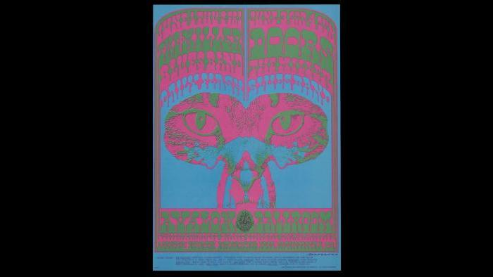 2.Victor Moscoso, The Doors, The Miller Blues Band, Daily Flash, June 1–4, 1967, Avalon Ballroom, San Francisco. Charles Deering McCormick Library of Special Collections, Northwestern University Libraries. © 1967, 1984, 1994 Rhino Entertainment Company. Used with permission. All rights reserved.