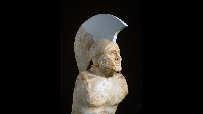 """Statue of a Soldier, Known as """"Leonidas""""--This statue is thought to depict the Spartan king Leonidas, whose troops battled the Persians in 480 BC. (Archaeological Museum of Sparta)"""
