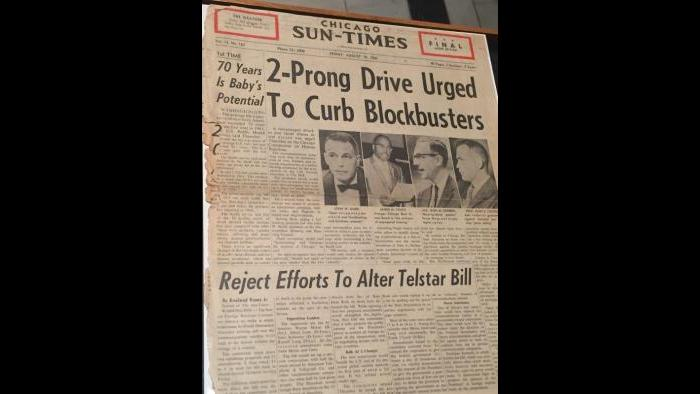 """A 1962 Chicago Sun-Times front page story on """"Blockbusting,"""" the practice of deflating property values in white neighborhoods by threatening homeowners with black integration."""