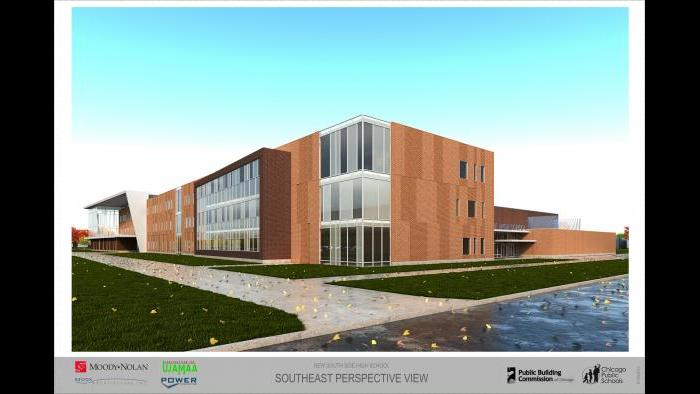 A new rendering released Friday of the proposed 1,200-student Englewood high school building. (Chicago Public Schools)