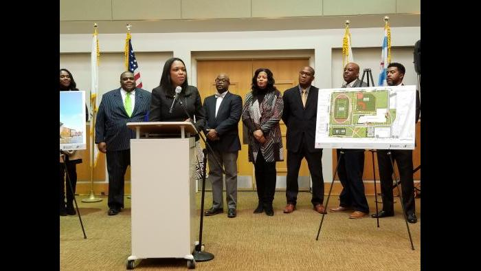 Acting CPS CEO Janice Jackson unveiled the new renderings Friday (Matt Masterson / Chicago Tonight)