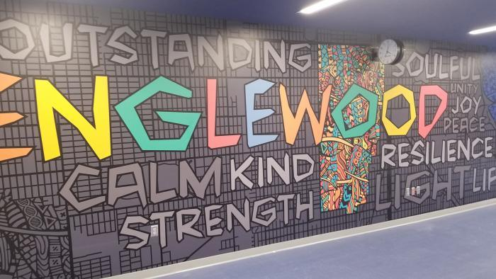 A community-based mural inside Englewood STEM High School.