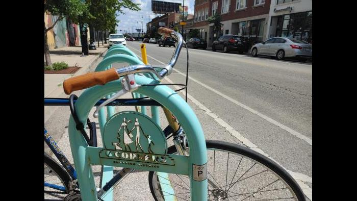 Bike racks in Portage Park. (Erica Gunderson / WTTW News)