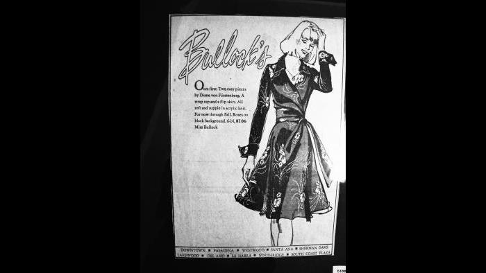 In the beginning, an ad for a wrap top and a flare skirt. (Courtesy of Diane von Furstenberg)